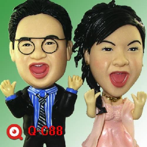 公仔-娃娃製作 浪漫結婚季節 Q-C88-裝可愛一對新人